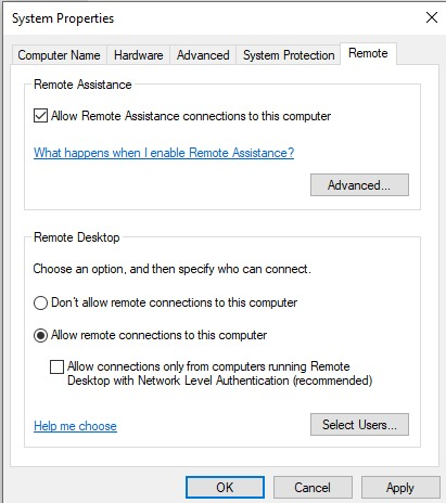 allow remote desktop
