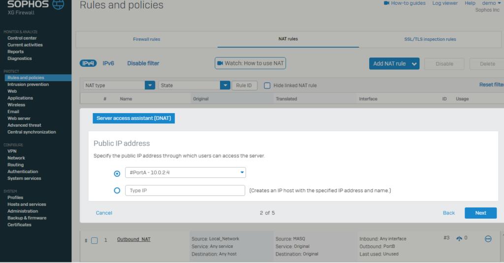 ایجاد مجوز دسترسی در فایروال سوفوس
